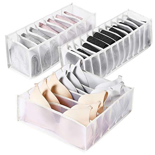 3 Stück Unterwäsche Schubladen Organizer,Waschbar Faltbare Stoff Aufbewahrungsbox,für BH Socken Höschen(Weiß)
