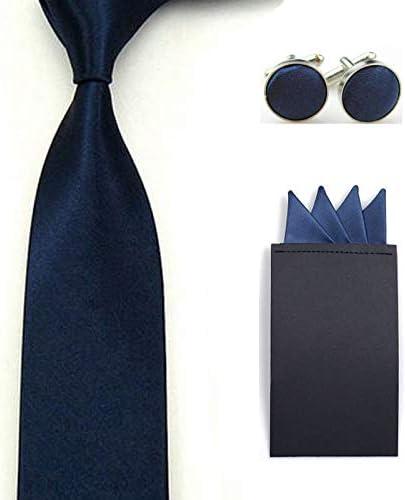 Men Solid Skinny Neck Tie Pre-Folded 4 Folds Hanky Pocket Square Cufflinks Set Color: Dark Blue