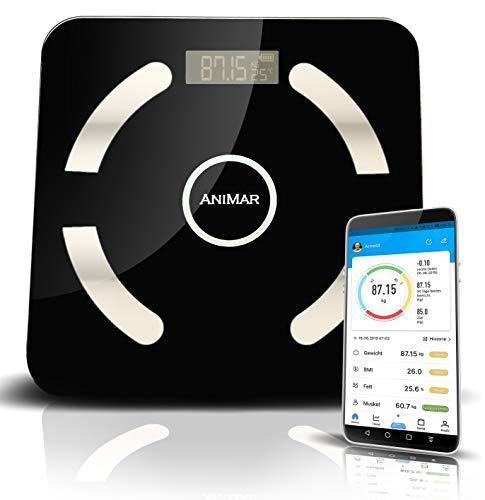 Digitale Körperfettwaage, Körperanalysewaage mit Bluetooth, bis 180kg, gratis App in deutscher Sprache, 12 wichtige Körperdaten wie Wasser, Muskeln, Knochen, Viszerales Fett, BMI etc. Apple & Android