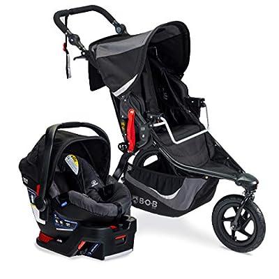 BOB Gear Revolution Flex 3.0 Jogging Stroller + Travel System with B-Safe 35 Infant Car Seat   Smooth Ride Suspension + Easy Fold + Adjustable Handlebar, Graphite Black [New Logo]
