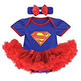 Baby Cotton Summer Toddler Romper Bodysuit with Headband (Lable XL/Age 12-18 Months, Blue/Superman)