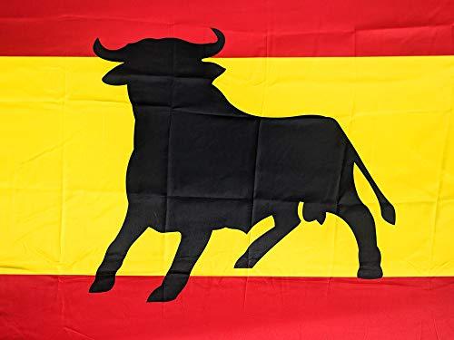 JOVAL -Bandera Grande de España con Toro Español de 150 x 90cm - Satén, Buenísima Calidad. Suave con Colores Negro Rojo y Amarillo Muy Vivos. para Bandera o para Colgar en balcón.