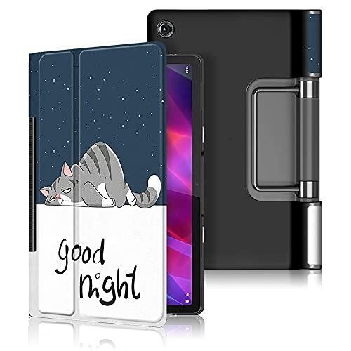 INSOLKIDON Compatible con Lenovo Yoga Tab 11 YT-J706F Tablet Funda Protectora Trasera de Cuero Bumper Protección de Cuerpo Completo Funda Protectora de Cuero (Gato)