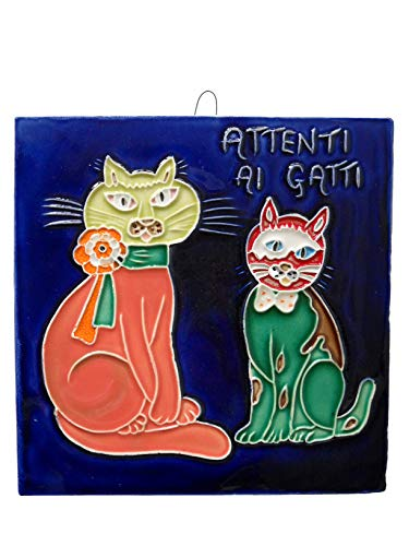fd-bolletta arredamento e illuminazione Mattonella Ornamentale in Ceramica da Parete Colorata Mano attenti ai Gatti ma7 Misure: H 15cm,Larghezza 15cm, Spessore 0,8cm.