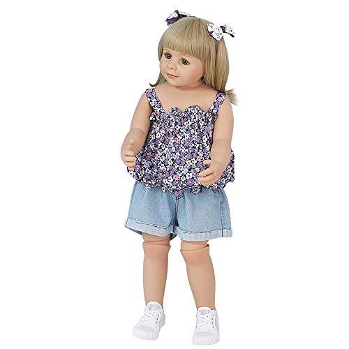 Duotar Bebê Reborn Recém Nascido,Reborn Baby Doll 34,3 polegadas 87 cm Vinil Full Body Lifelike Girl Doll pode suportar Bonecas de banho fofas com top floral roxo e shorts jeans