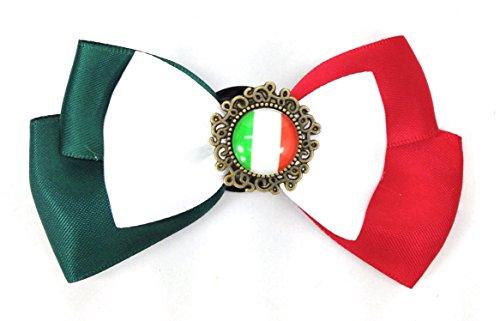 国旗ボタン付き リボン ブローチ コスプレ パーティー等に (イタリア)