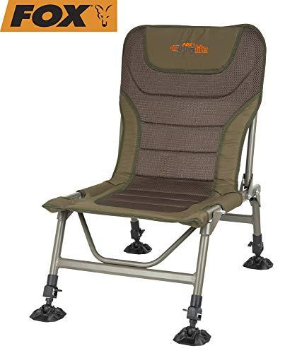 Fox Duralite Low Chair - Angelstuhl zum Karpfenangeln & Wallerangeln, Karpfenstuhl zum Angeln, Stuhl für Angler, Campingstuhl