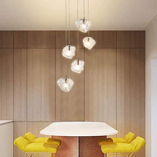 Kroonluchter 5 minuten kroonluchter ijs Scandinavische moderne leven verguld gewoon creatief restaurant dineren kamer hangende lamp temperatuur optisch glas mooi