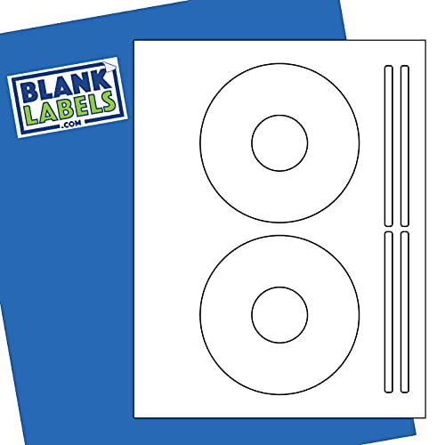 CD / DVD Labels from Blank Labels - 5931 Template Compatible - Permanent White Matte - Inkjet and Laser Guaranteed - Easy to Peel - Made in USA - 500 Sheets - 1000 Disc Labels & 2000 Spine Labels