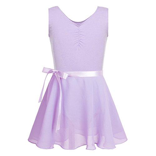 Freebily Girls Team Basic Tank Leotard with Separate Wrap Skirt Dance Ballet Tutu Dress Outfit Gymnastics Training Activewear Sleeveless Lavender 12-14