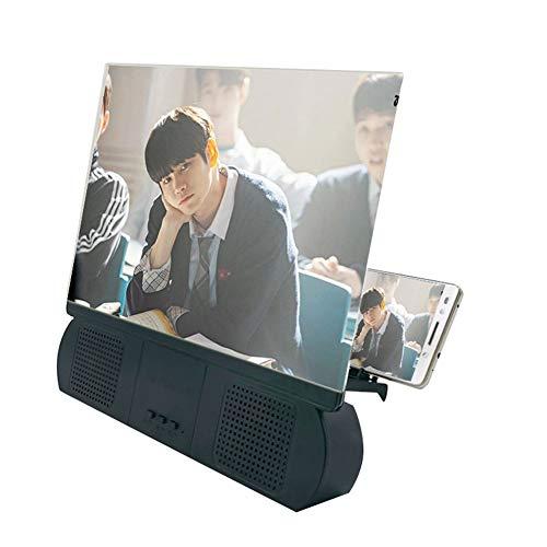 Lupa para Pantalla de teléfono de 10 Pulgadas, Ampliador HD de Pantalla 3D 3-5 Veces Zoom Extensión Plegable de Pantalla con Altavoz Bluetooth Pantalla Universal para teléfonos móviles