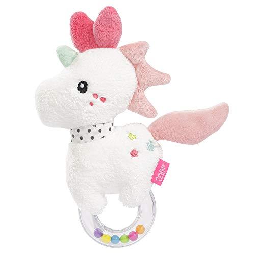 FEHN 057133 - Sonajero con forma de unicornio para sonajero, sonajero, sonajero, tacto y jugar con animales de peluche suave, un compañero fiel para bebés y niños pequeños a partir de 0 meses (Producto para bebé)