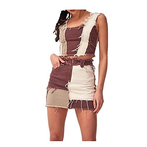 N\P Faldas para mujer, bolsillos de calle, patchwork, falda de línea A, top alto para mujer