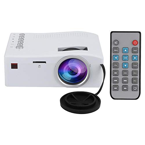 Mini proyector LED, Full HD 400Lux, 1080P y pantalla de 110'' Proyector de cine portátil compatible Home Theater con 20000h de vida útil de la lámpara, relación de imagen 16: 9(Enchufe blanco-UE)
