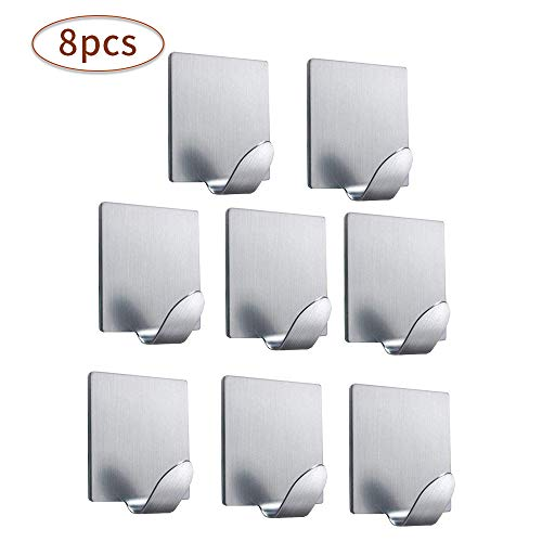 Carkio zelfklevende haken Heavy Duty, zelfklevende handdoekhaken, niet-boor-opknoping oplossing voor het ophangen van handdoeken Key van toepassing op de badkamer thuis keuken, 4 Pack Artikel 6