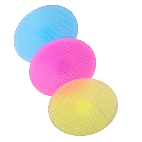 DOITOOL 3 peças de silicone macio para limpeza facial, escova de limpeza facial, tapete de mão para mulheres (amarelo + rosa + azul)