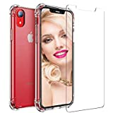 Dr. R. Group iPhone XR Clear Case (+) Free Screen Protector. Transparent XR Cover, Shock Absorptive, Camera & Screen Protector, Hybrid Case TPU + PC (Clear XR Case + Tempered Glass in 1Bundle Pack)