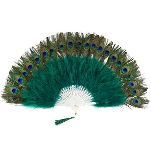 Coucoland 1920s - Abanico Plegable de Mano con Plumas de Pavo Real y Plumas de marabú para decoración de Fiestas, Verde