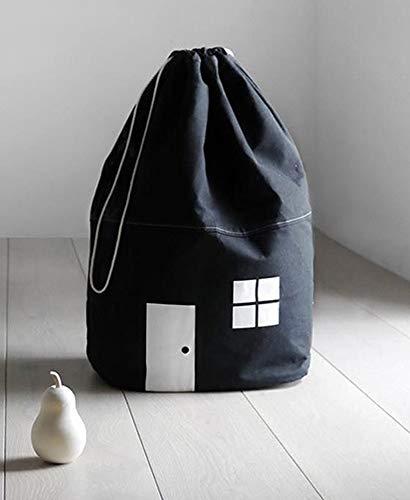 Aufbewahrungssack Tasche Sack Korb Wäschekorb Kinderzimmer Kinder Wohnzimmer Bad Badezimmer Eimer Spielzeug (Schwarz)