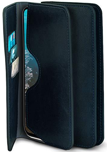 moex Excellence Line Handytasche kompatibel mit Nokia 6.2 / Nokia 7.2 | Hülle Dunkel-Blau - Mit Kartenfach und Geld + Handy Fach, Klapphülle, Flip-Hülle Tasche, Klappbar