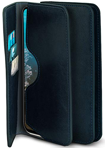MoEx® 360 Grad Schutz Hülle Klappbar passend für Wiko View4 Lite | Bookcase Kartenhülle, Etui mit Kartenfach, Flip Klapphülle, Handy Hülle Cover, Handyhülle zum Klappen, Dunkel-Blau