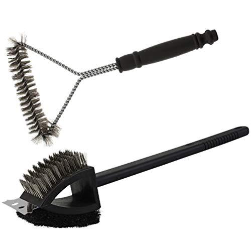 Lote de 2 herramientas para barbacoa con parrilla plancha, cepillo de limpieza, rascador, ideal para barbacoa de carbón o eléctrica.