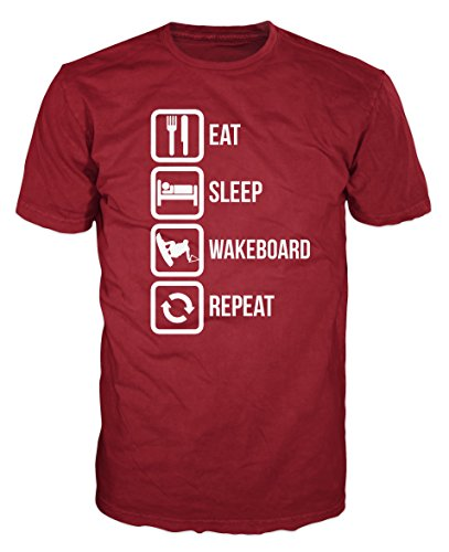 Eat Sleep Wakeboard Repeat Funny T-shirt (XXL, Brick Red)