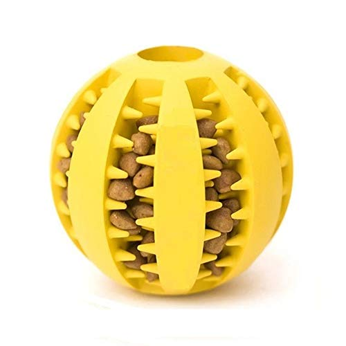 QINUKER Dog Ball Toys for Pet, Durable Strong Teeth Chewing Playing IQ Treat Dog Chew Toy Soft Rubber Ball with Size 2.8