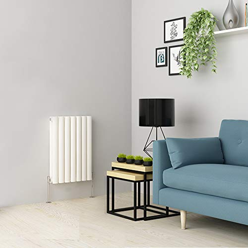 WarmeHaus Horizontal Column Designer Radiator Oval Flat Panel Double White 600x414mm - Modern Central Heating Space Saving Radiators - Perfect for Bathrooms, Kitchen, Hallway, Living Room