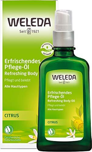 WELEDA Citrus Erfrischendes Pflege-Öl, belebendes und erfrischendes Naturkosmetik Körperöl zur Pflege und zum Schutz vor trockener Haut, Citrus Bodyöl mit frischem Duft (1 x 100 ml)