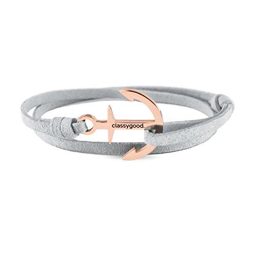 classygood. Anker Armband Classy Bracelet roségold, Alcantara-Leder Band grau für Damen/Herren