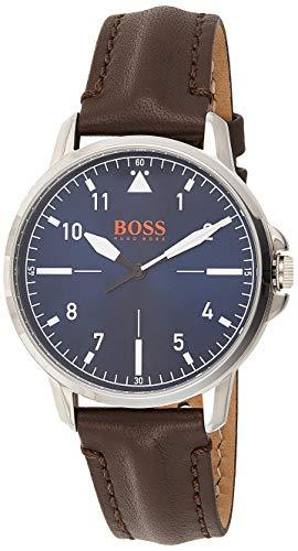 Hugo Boss Oranje Heren Analoog Quartz Horloge met Lederen Band 1550060