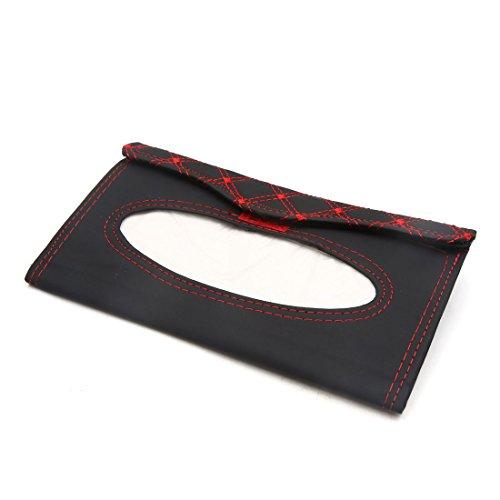 uxcell Auto Car Sun Visor Tissue Box Holder Napkin Paper Storage Case Cover Black Red