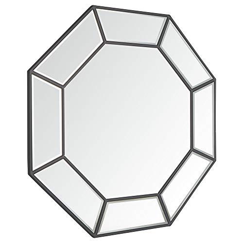 Beautify Espejo Geo Grande Gris - Ganchos De Metal Para Colgar - Cristal - Geométrico - Plata - Salón - Dormitorio - Pasillo