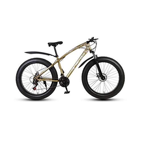CHERRIESU Mountainbike für Erwachsene Männer und Frauen, Bergsportfahrrad, MTB mit 27 Schaltstufen, 26 Zoll Fettreifen mit 3 Messerrad,Gold