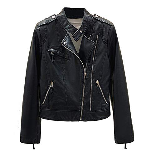 TIKEHAN Printemps Mode Faux Cuir Veste Pour Femmes Noir Punk vestes en Cuir Slim Femmes Moto Biker Zipper Manteaux Court