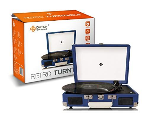 DUTCH ORIGINALS Retro Draaitafel, met geïntegreerde luidsprekers, Vintage Vinyl speler voor grammofoonplaten en audioapparatuur, Donker Blauw, AUX, 2 versterkers