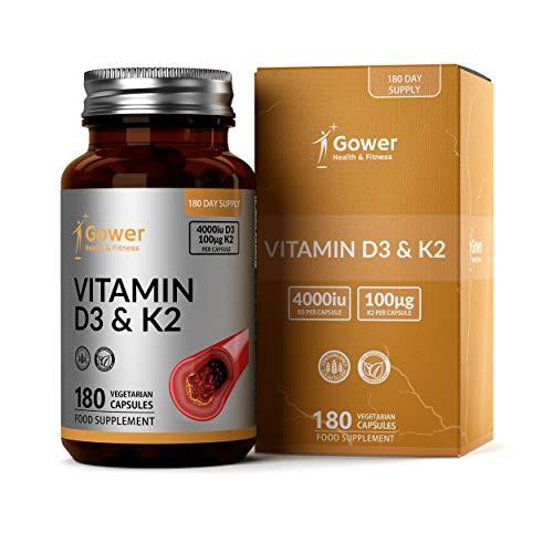 GH Vitamina D3 (4000iu) y Vitamina K2 (100μg) Capsulas | 180 Cápsulas Vegetariano de Alta Resistencia | Para la Resistencia Ósea, Corazón Sano y el Apoyo Inmunitario | Sin OGM, Gluten o Lácteos
