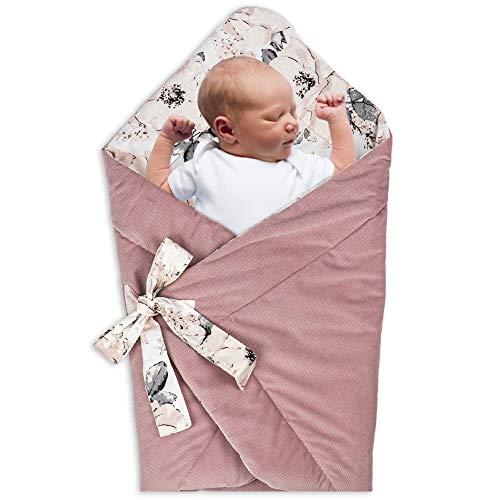 Manta para envolver al bebé Swaddle recién nacido – Saco de dormir para bebé, manta para bebé, manta para bebé, 80 x 80 cm (rosa canina – Terciopelo rosa polvo)