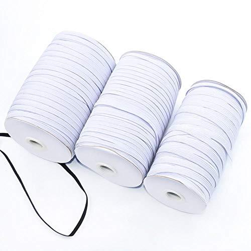 Bandas elásticas blancas y negras 5 metros 6/8/10/12/15/20/30/35/40 mm Bandas elásticas de poliéster para accesorios de costura de prendas de vestir, blanco, 8 mm