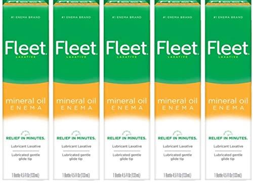 Special pack of 5 FLEET ENEMA MINERAL OIL 4.5 oz