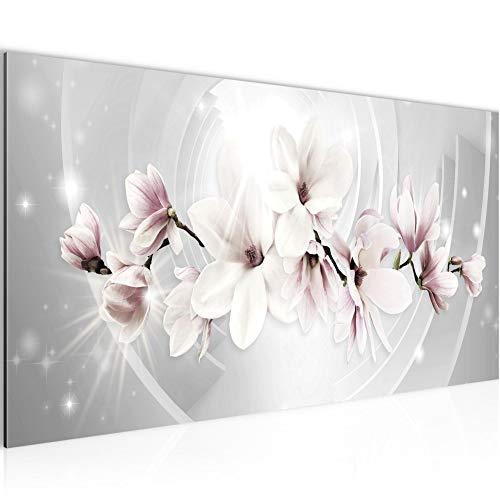 Bilder Blumen Magnolien Wandbild Vlies - Leinwand Bild XXL Format Wandbilder Wohnzimmer Wohnung Deko Kunstdrucke Rosa Grau 1 Teilig - MADE IN GERMANY - Fertig zum Aufhängen 006412a