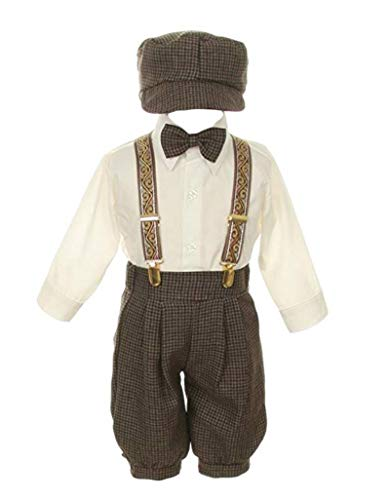Vintage Dress Suit-Bowtie,Suspenders,Knickers Outfit Set for Baby Boys & Toddler, Dark Taupe/Ivory-24 Months