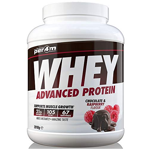 per4m Protein Whey Powder | 67 Servings of High Protein Shake with Amino Acids | for Optimal Nutrition When Training | Low Sugar Gym Supplements (Chocolate and Raspberry, 2010g)