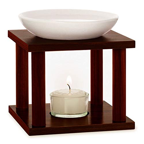 Primavera Duftlampe Olymp - Aromadiffuser, Duftkerze, Raumduft - Aromatherapie - Keramik und Holz, handgefertigt, optimale Diffusionstemperatur