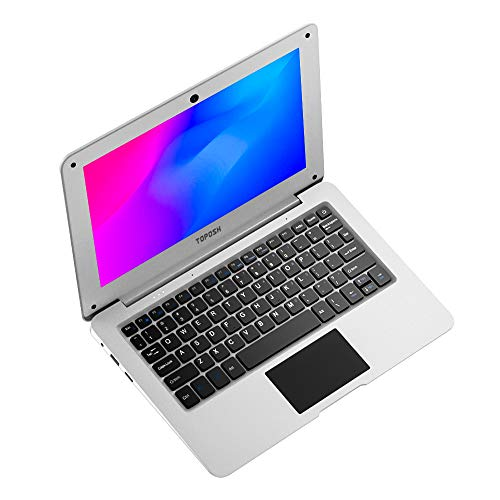 Mini Taccuino Portatile TOPOSH 10,1 Pollici 2 GB RAM + 32 GB SSD Intel Atom X5-Z8350 Grafica Quad-Core 1,92 GHz, Laptop con Tastiera QWERTY-Bianco