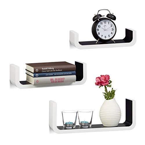 Relaxdays wandrek set van 3, decoratieve U-vormige wandplanken, kleine planken 10 cm diep, tot 40 cm breed, wit-zwart