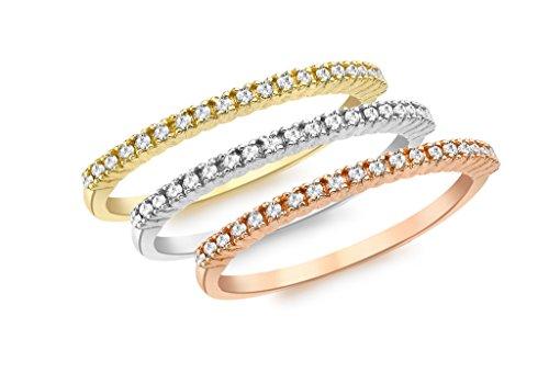 Juego de 3 anillos de eternidad de diamante genuinos de oro de 9 quilates y 3 colores