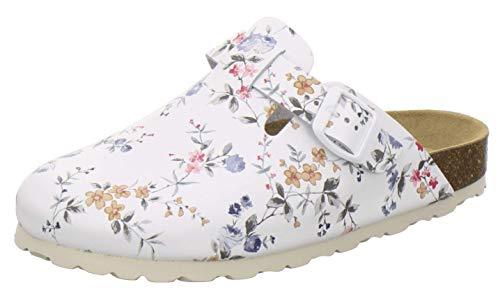 AFS-Schuhe 2900 Clogs Damen Bequeme Hausschuhe mit Fußbett aus Leder Made in Germany (43 EU, Weiss-Flower)