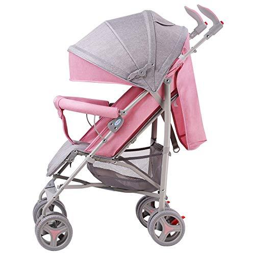 Kinderwagen, opvouwbare opvouwbare schokdemping, kan het vliegtuig nehmen, 1-staps vouwen, geschikt voor 0-36 maanden baby roze